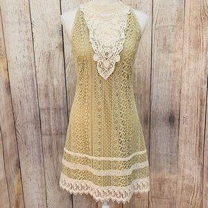 Anthropologie A'reve White Lace & Tan Dress